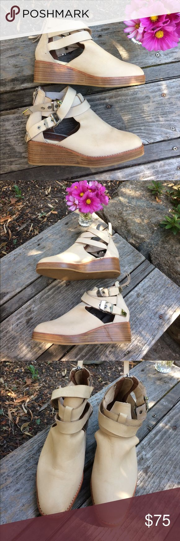 🌺 Jeffrey Campbell - Handmade Leather Shoes Sz. 6 Rare Find! Check out these adorable Jeffrey Campbell Ibiza Handcrafted Wedge Shoe/Boots in a Beautiful, Neutral Tan Color. Perfect for Year-Round Wear, and in great Pre-Owned Condition! Women's Size 6. These were made to last! Zipper down back & two Buckles on each side. Wish they were my size! Thank you for shopping here. Please check out other items in my closet & bundle to save 💰. I 💖my Posher Pals & Ship Fast for you! Debbie 💃💃💃…