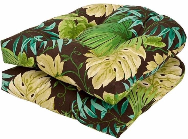 Outdoor Brown Green Tropical Seat Cushions Set Of Two New #cushion