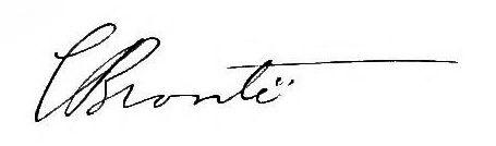 Firma di Charlotte Bronte - Il CH delle iniziali del suo nome è assimilato interamente dal cognome di famiglia privo di identificazione femminile, ma connotato collettivamente ed intimamente al suo ego che non scompare come persona. La linea del cognome è proiettata in avanti con andamento dinamico e con la lancia in resta della T molto allungata che può fare anche da tetto protettivo finale. La E termina con due puntini fermi e stabili che presumono uno continuo sviluppo.