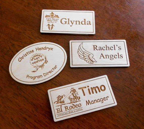 Magnetic Name Tag laser-engraved name by CarvedByHeart on Etsy