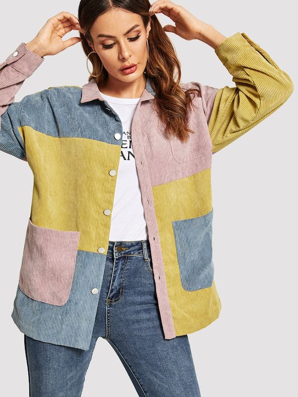 bfd94770aa Drop Shoulder Cut-and-sew Corduroy Jacket | Other Fashion/Style in ...