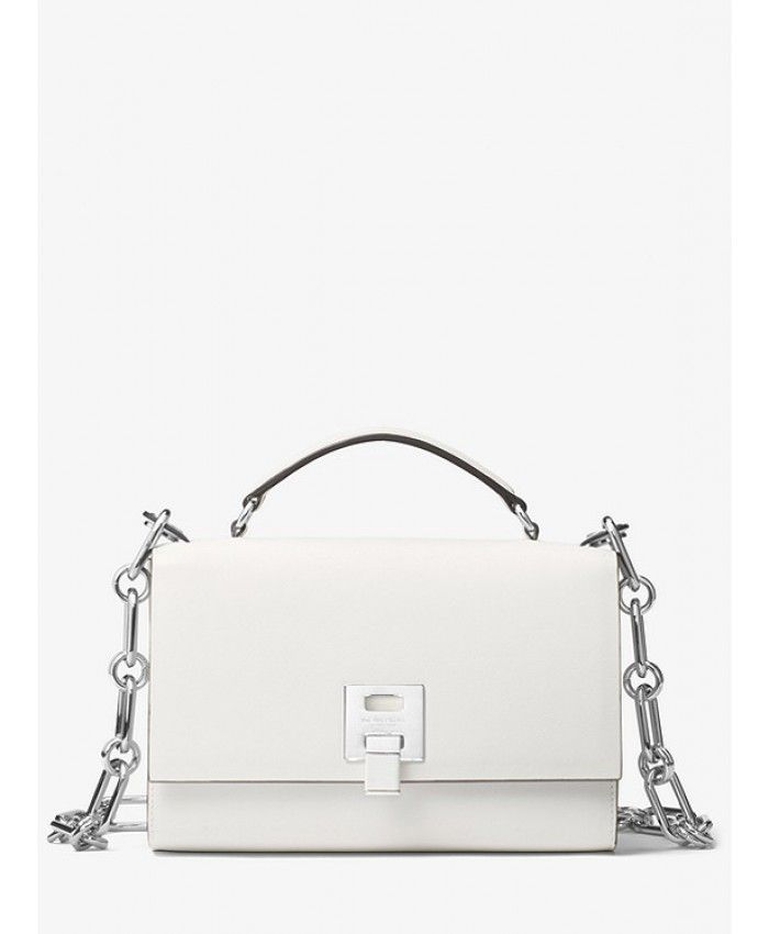 dce99dcf6d40 Michael Kors Bancroft Calf Leather Shoulder Bag - Optic White ...