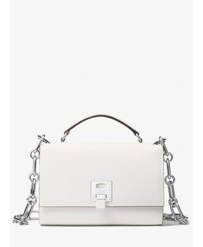 c1b1ca5d8db1 Michael Kors Bancroft Calf Leather Shoulder Bag - Optic White ...