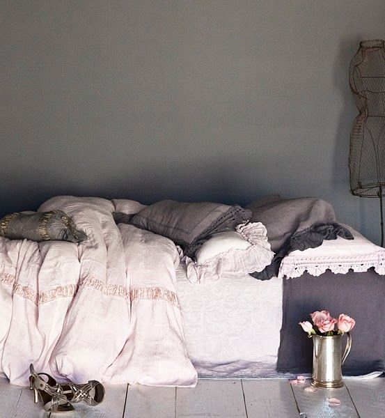 This dove grey room reminds me of Elizabeth Bennett... All it needs is a little something on the wall to make it look less bare.