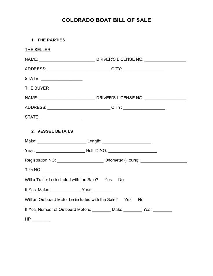 Free Colorado Boat Bill of Sale Form - Word PDF eForms u2013 Free - sample dmv bill of sale