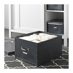 IKEA - FJÄLLA, Box with lid, dark gray, , Suitable for bulky items like blankets, comforters, and games.Easy to pull out and lift as the box has handles.The label holder helps you organize and find your things.