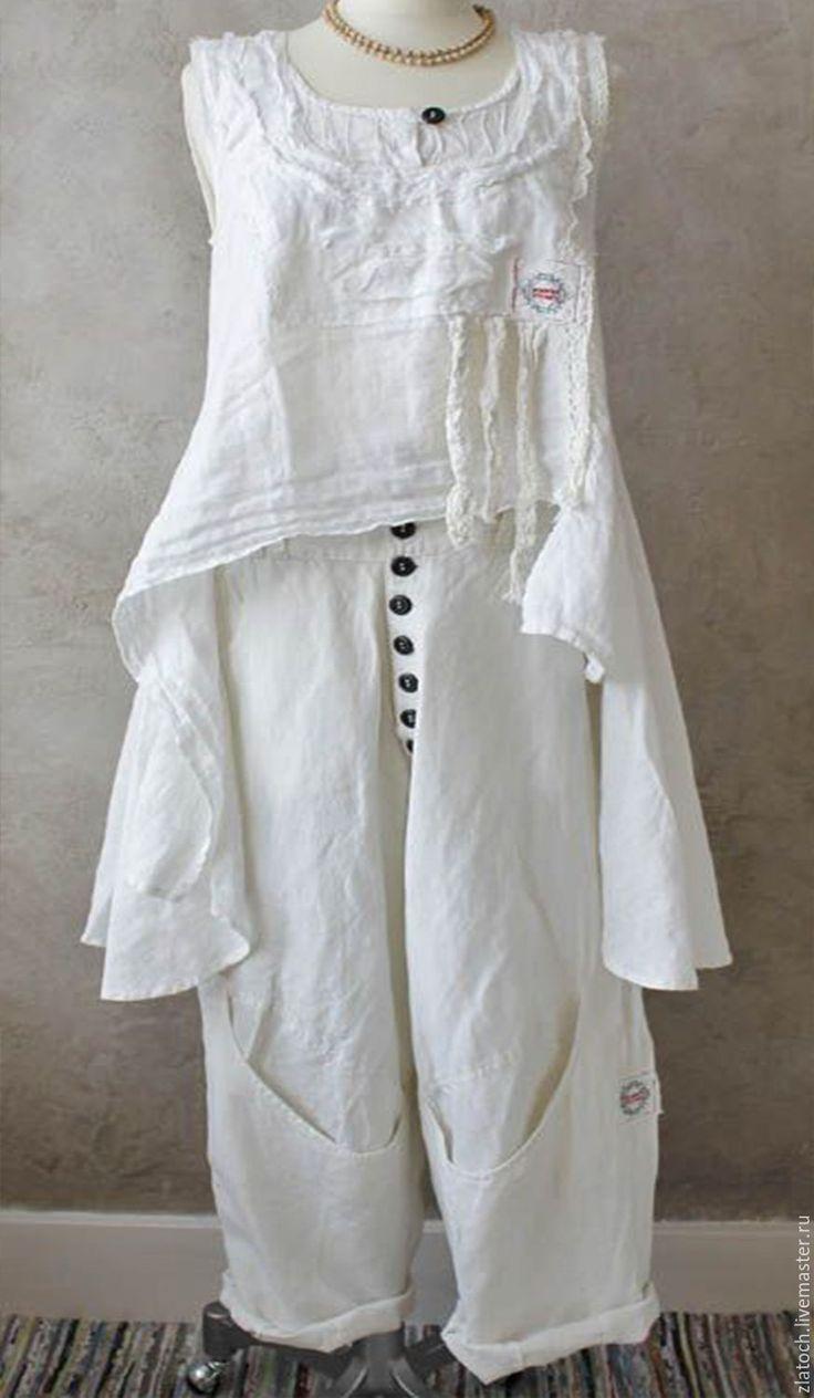 Купить Летние женские брюки. - однотонный, Женские брюки, женские штаны, шаровары, льняные брюки
