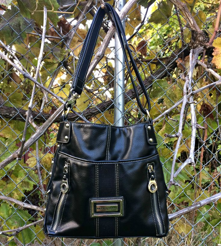 Small Black Purse / Black Leather Handbag / Crossbody Handbag / Small Messenger Bag / Faux Leather Purse