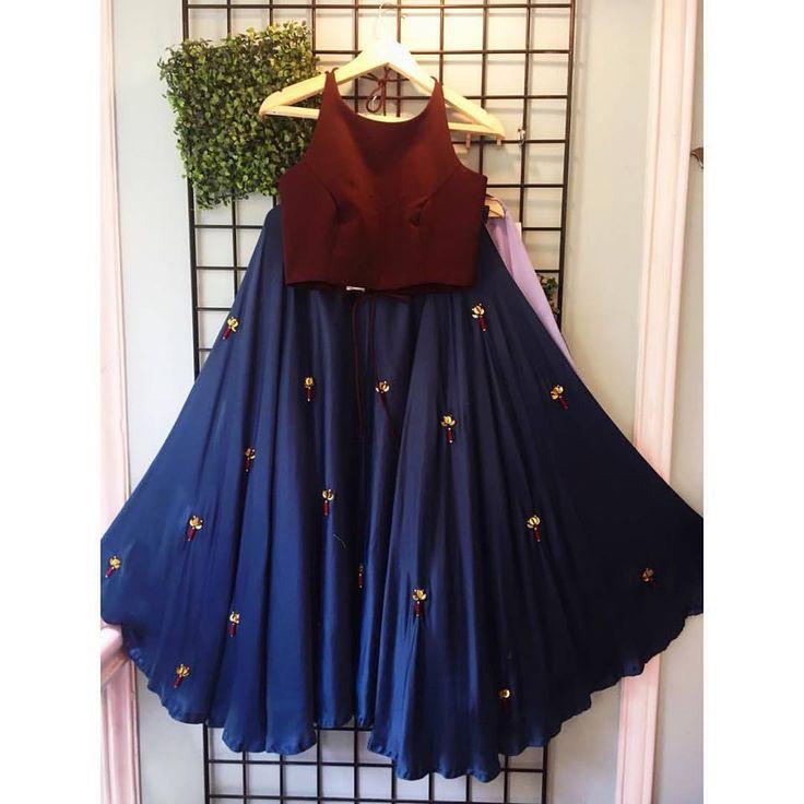 Pretty maroon dark blue lehenga set from Surat #Frugal2Fab