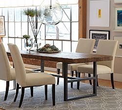 Griffin Dining Collection & Griffin Dining Room Furniture | Pottery Barn...can get it with two benches as well $3500