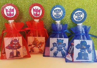 12 Angry Birds Transformers Birthday Party Favor Bags Goody Bubbles Stickers