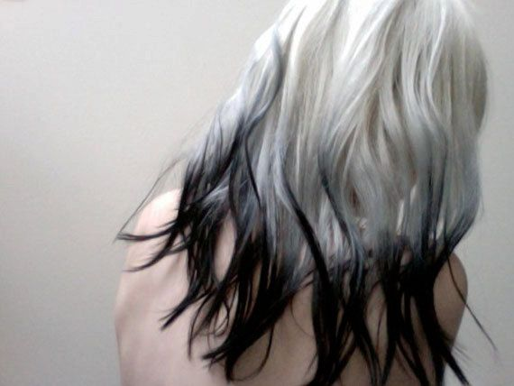 RARE WHITE PLATINUM with Black Dip Dye Tips Human Hair ...