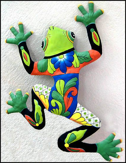 Hand painted frog wall hanging - Tropical metal garden art - Handcrafted in Haiti from recycled steel drums.