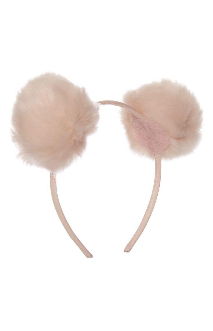 Pink Fluffy Pom Pom Alice Band