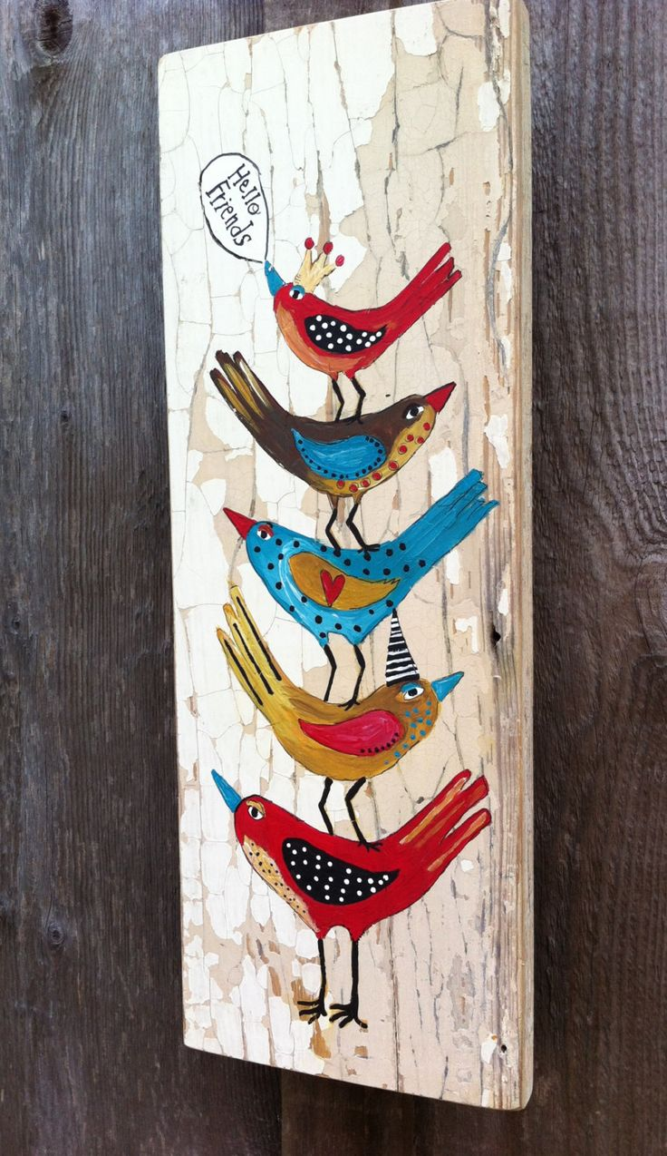 Hello Birds Shabby Chic Painting on Flakey Wood by evesjulia12, $58.00