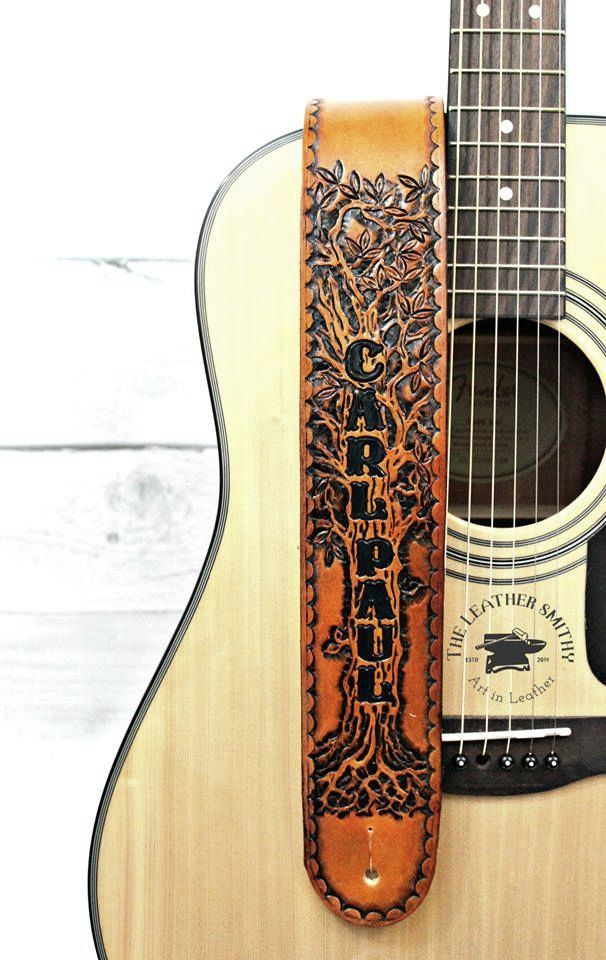 Leather Guitar Strap With Custom Hand Tooled Design Guitar Strap Leather Guitar Straps Hand Tooled Leather