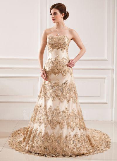 Свадебные платья - $301.99 - Трапеция/Принцесса В виде сердца Церковный шлейф Атлас кружева Свадебные Платье с Бисер блестками (002011432) http://amormoda.ru/A-line-Princess-Sweetheart-Chapel-Train-Satin-Lace-Wedding-Dress-With-Beading-Sequins-002011432-g11432