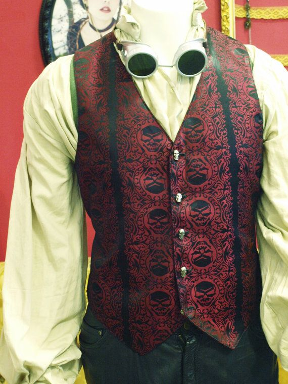 Black and Red Jolly Roger Skull Silk Brocade PIrate Vest ...