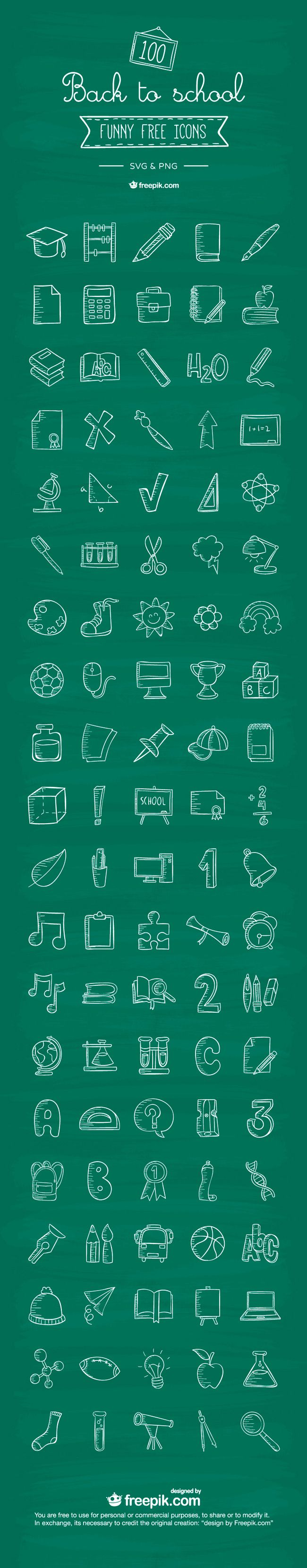 Free Download : 100 Back To School Icons