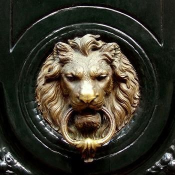 Lion Door Knocker, Transitional, home exterior, Carlyle Designs