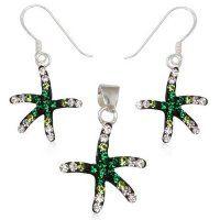 SE1167SWSS - Hviezdice - strieborný set so Swarovski krištálmi hviezdice - strieborný set so zelenými Swarovski krištálmi #supersperky #krasnesperky
