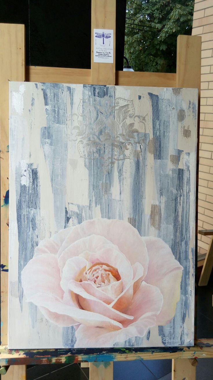 Rosa acrilico y oleo de 90 x 60 #artesupa #arte #oleo