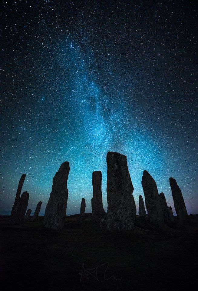 Callanish Stones under the stars, Isle of Lewis, Scotland