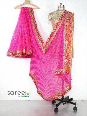 Pink Georgette Saree with Gota Patti Work
