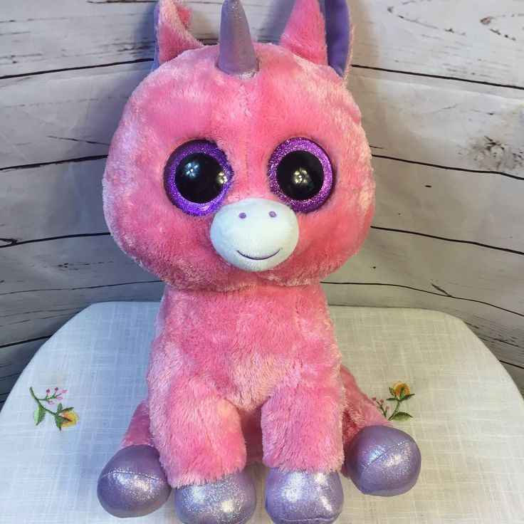 "Ty Beanie Boos Magic the Unicorn Large Stuffed Animal 16"" Plush Glitter Eyes #TyBeanieBoos"