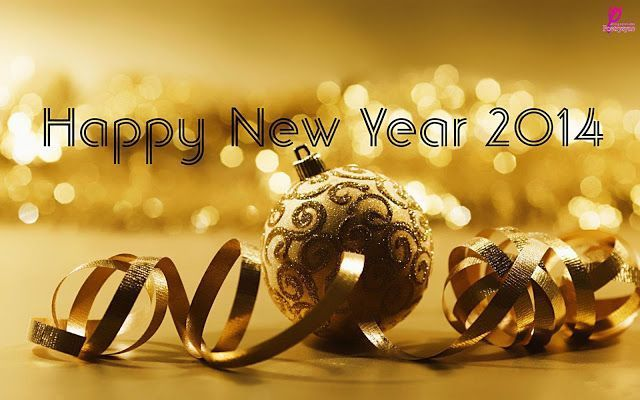 Yellow Happy New Year Wishes 2014 and Christmas Card with Greetings SMS Messages