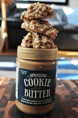 No Bake Trader Joe's Cookie Butter Cookies - Ingredients  2 cups sugar  4 tablespoons cocoa  1 stick butter  1/2 cup milk  1 cup Speculoos Cookie Butter or peanut butter  1 tablespoon vanilla  3 cups oatmeal   Place sugar, cocoa, butter and milk in a medium saucepan. Bring to a boil 1-2 minutes.  Add the cookie butter or peanut butter, vanilla and oatmeal. Stir until mixture is combined. Use spoons to drop onto waxed paper. Let cookies cool and set, and enjoy!