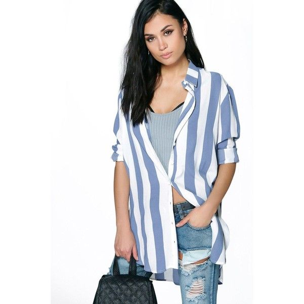 Boohoo Enya Bold Stripe Oversized Shirt ($30) ❤ liked on Polyvore featuring tops, blue, blue crop top, blue striped shirt, striped long sleeve shirt, basic t shirt and high neck crop top