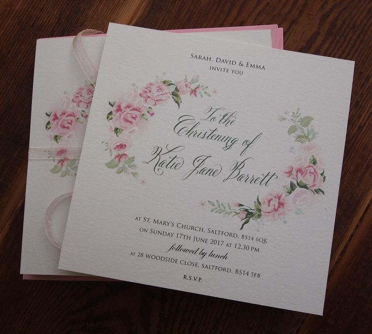 Christening Invitation Beautiful Blush Pink Roses