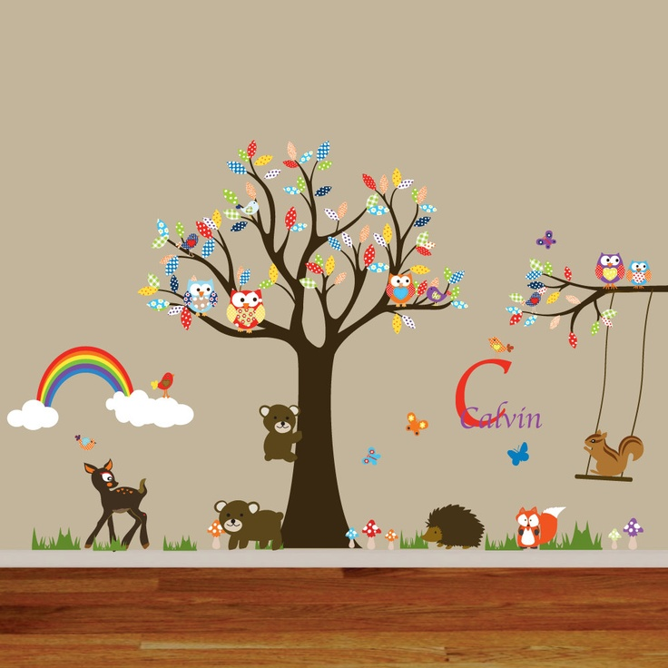 Nursery Playroom Owl Tree Deer Bird Swing Vinyl Wall Art ...