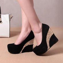 Más el tamaño mujeres wedges zapatos de plataforma mujer bombas de baile zapatos de boda cuña