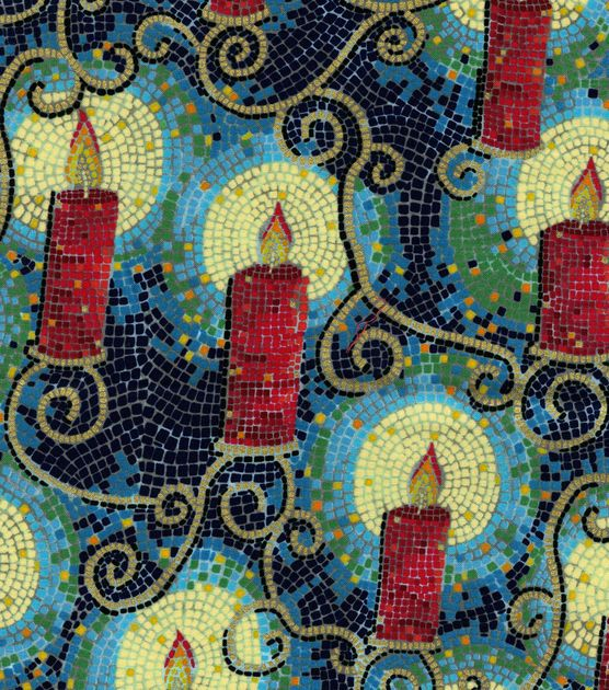 Holiday Inspirations Fabric-Christmas Mosaic Candles Metallic