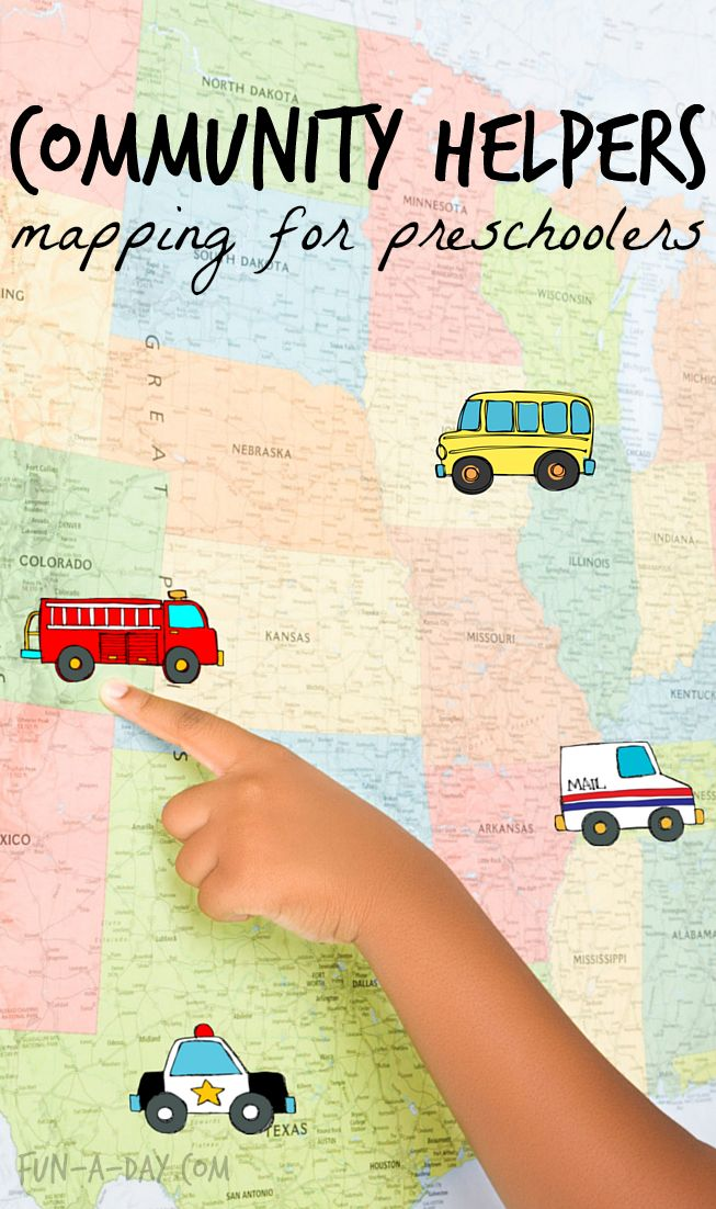 Community Helpers Preschool Theme - a fun way for children to map their local helpers! Lots of learning with this #PLAYfulpreschool lesson!