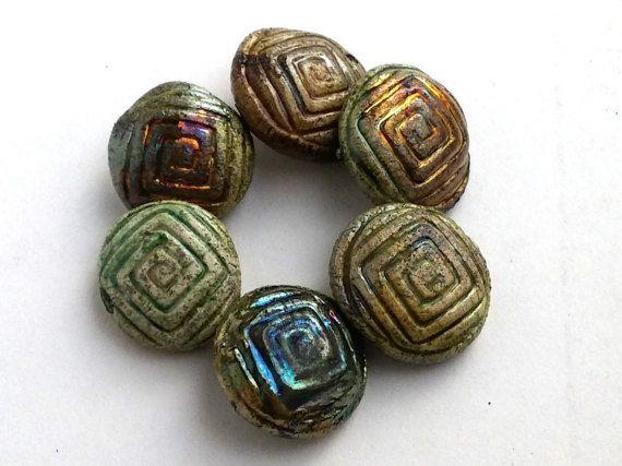 6 Raku ceramic spiral button  round clay button by BlueBirdyDesign