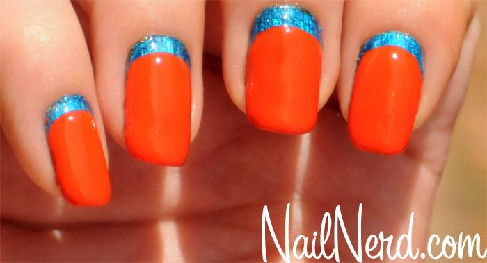 Corporate Ruffian Nails: Colors Combos, Nails Art, French Manicures, Blue Metals, Nail Tutorials, Nails Ideas, Ruffian Nails, Blue Nails, Nails Tutorials