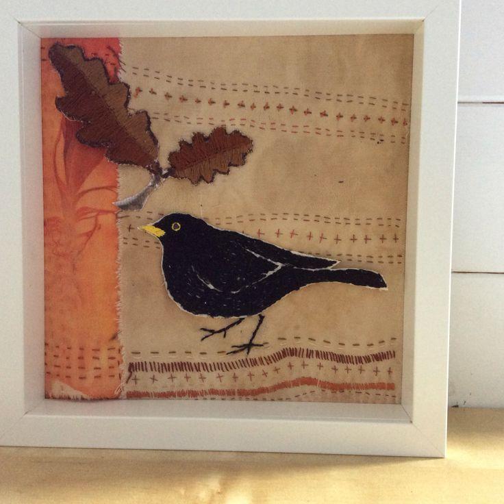Hand embroidered Blackbird from Irish garden Bird series. Hand stitching, hand dyed and hand printed. www.violetshirran.com
