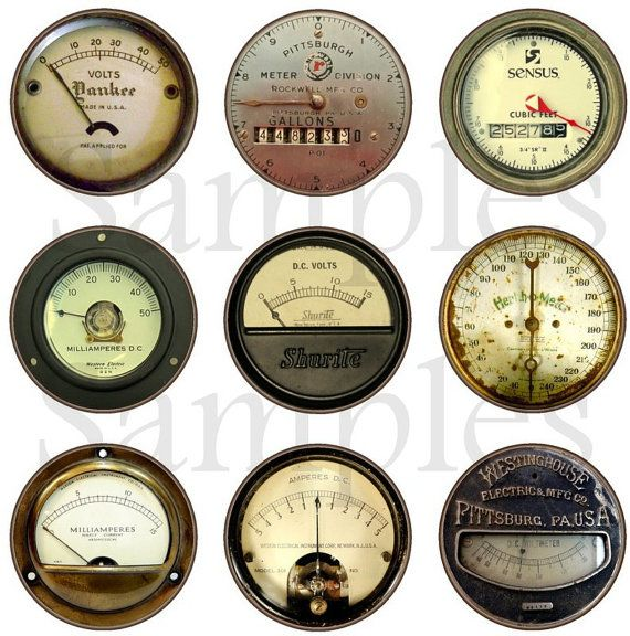 """1"""" Inch Vintage Steampunk Meters Flatback, Pinback or Magnets 12 Ct."""