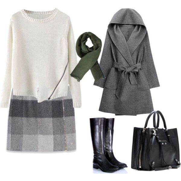 Беспроигрышный вариант – юбка в клетку, свитер, сапоги, сумка, пальто, шарф