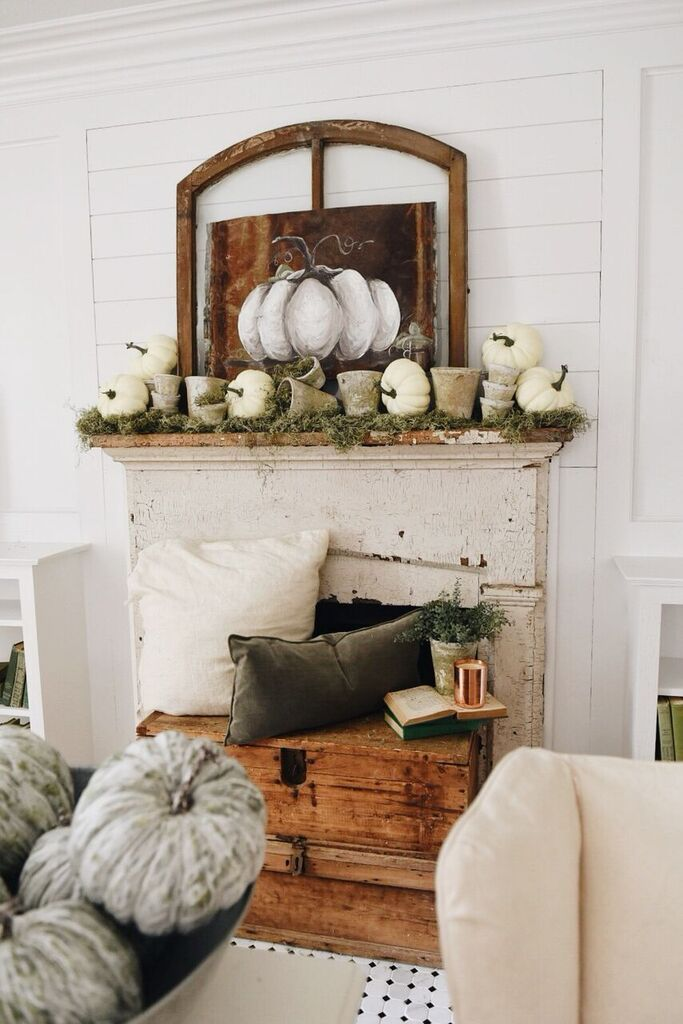 Decorating Your Mantel for Fall - Non - Working Fireplace? No problem - here, pumpkins and other natural elements were combined to create a welcoming farmhouse display - Liz Marie Blog