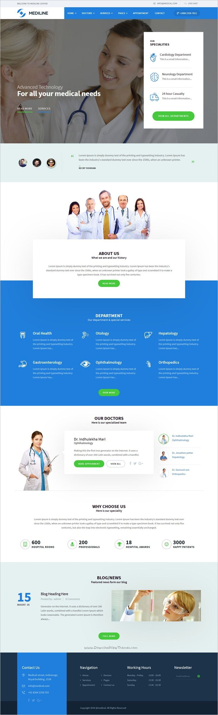 Buy mediline medical health html template by udayraj on themeforest mediline html template can be used for any type of medical websites