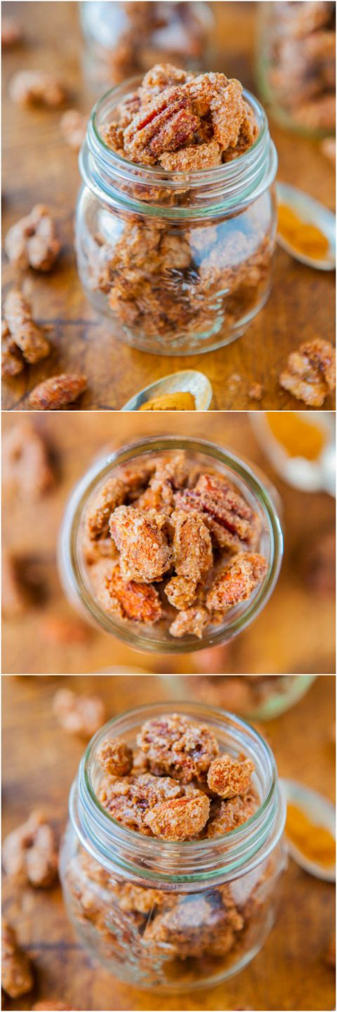 Sweet with Heat Cinnamon Sugar Candied Nuts - Make shopping mall-style candied nuts any time you want! Just 30 minutes and these crunchy and very addictive nuts are all yours! Makes a great gift! Easy recipe at averiecooks.com