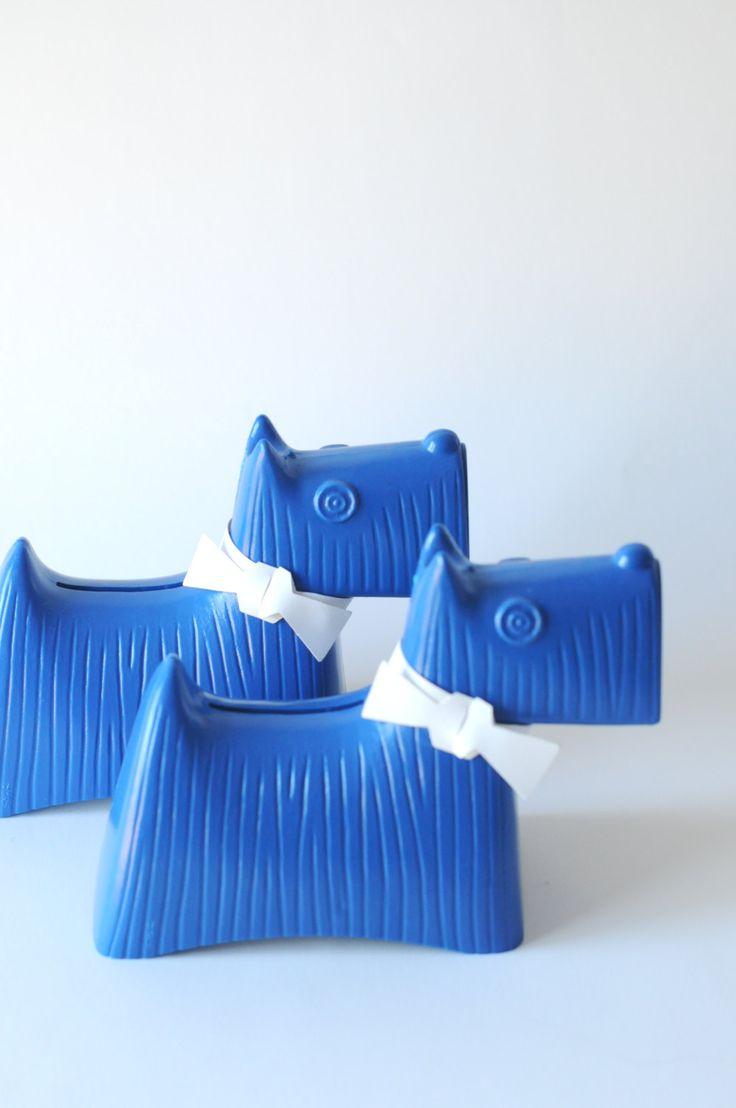 Stig Lindberg - Two Blue Scottie dogs. Money boxes - Plastic piggy banks. 1960s Sweden. Mid Century Modern. Swedish modernist Nordic design by FridasVintage on Etsy