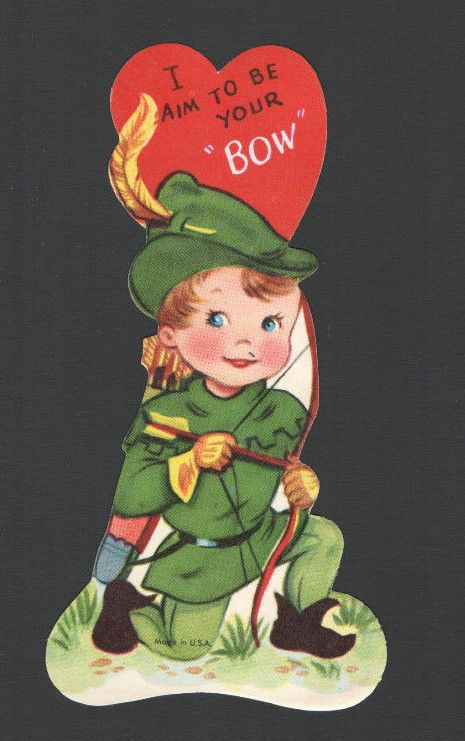Vintage Valentines Day Card Little Robin Hood Archer Bow Arrows I