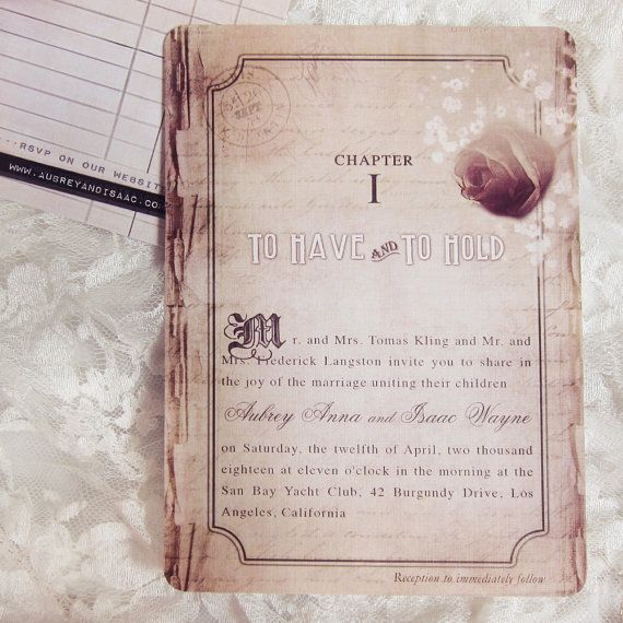 Vintage Wedding Invitations Story Book Romance By DaysGoneDesign, $50.00