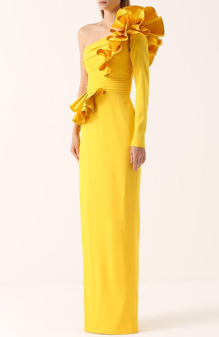 Женское жёлтое приталенное платье асимметричного кроя с оборками и драпировкой Dsquared2, сезон SS 2017, арт. S75CU0419/S44019 купить в ЦУМ | Фото №3