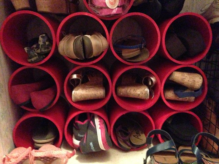 shoe rack organizer made from 6 inch by 10ft pvc pipe from lowe 39 s cut into 10 11inch sections. Black Bedroom Furniture Sets. Home Design Ideas